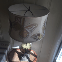 Mid Century Topaz Lamp & Anthropologie Embroidered