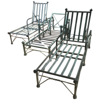 Metal Outdoor Lounge Chairs - Set of 3   Chairish