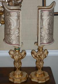 Pair of Carved Italian Mantel Lamps W Fortuny Shades ...