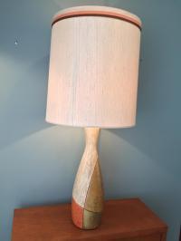 Mid-Century Ceramic Table Lamp With Original Shade | Chairish