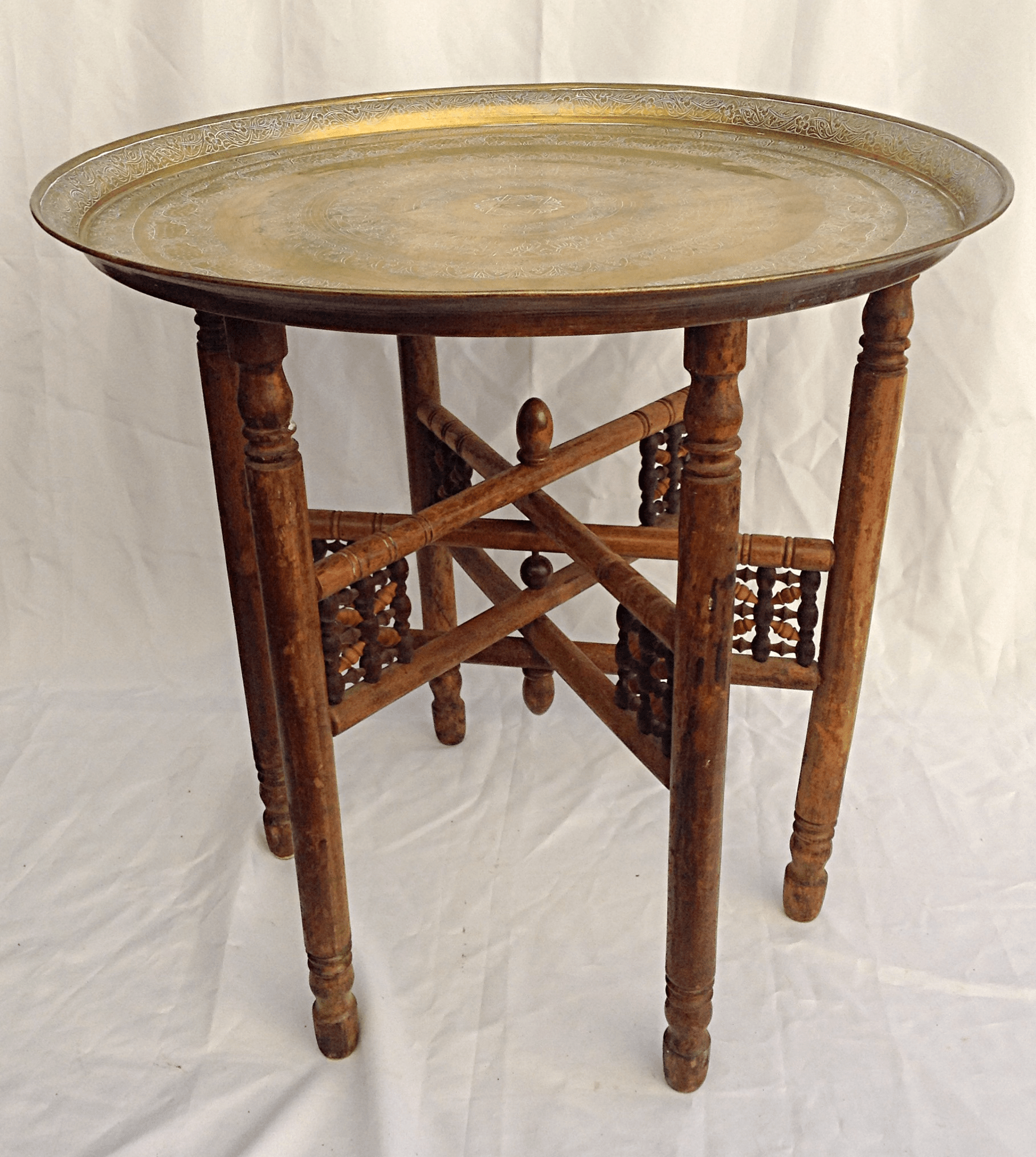 Middle Eastern Folding Brass Table  Chairish