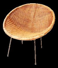 Mid Century Modern Wicker Hoop Chair | Chairish