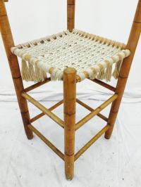 Vintage Bent Tiger Maple & Macrame Corner Chair | Chairish