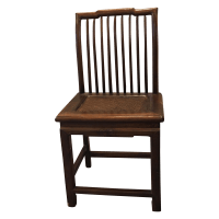 Antique Chinese Wood & Woven Seat Side Chair | Chairish