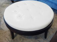 Round Cream Leather Tufted Coffee Table/Ottoman | Chairish