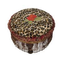 Leopard Print & Rose Round Ottoman