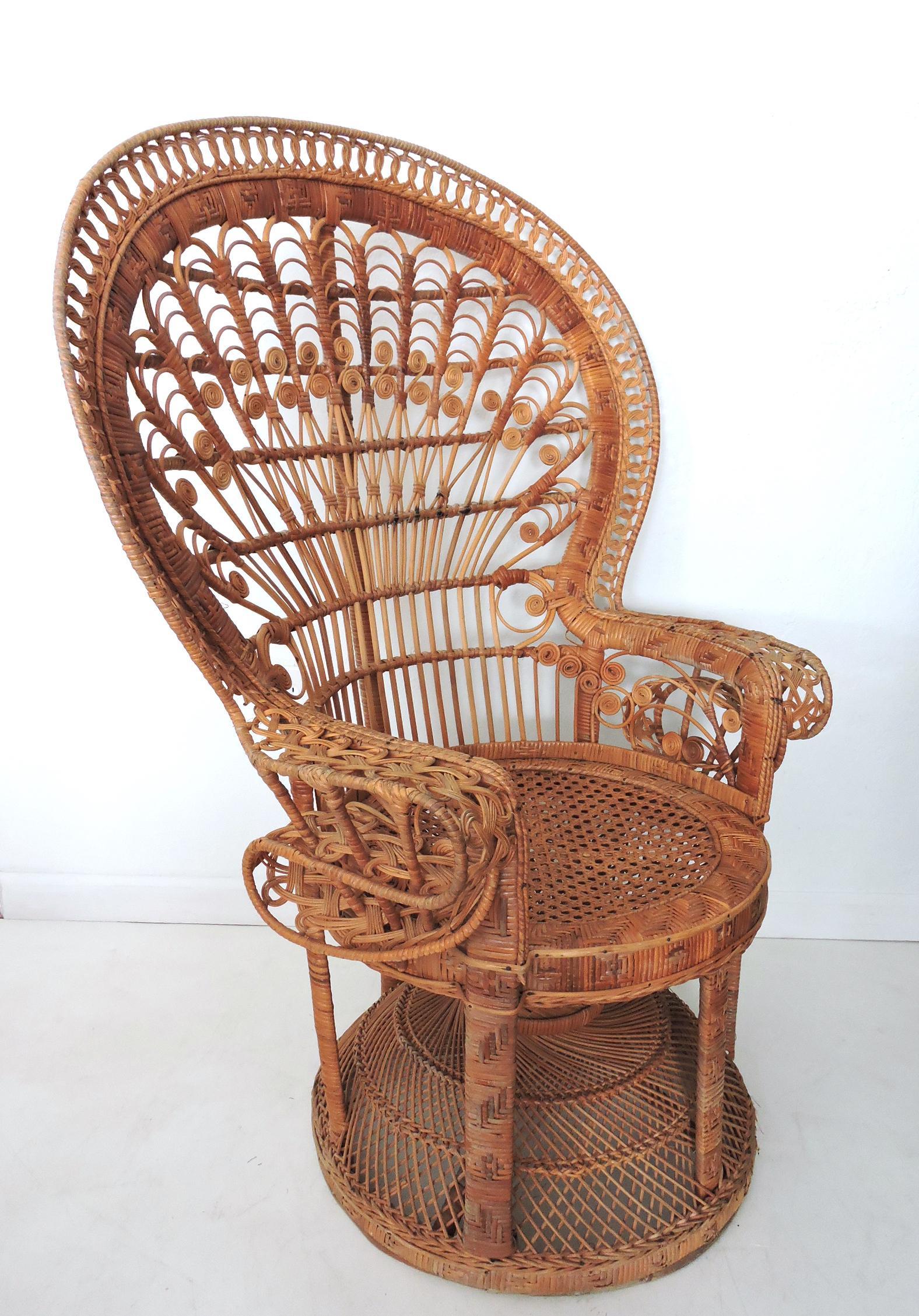 Wicker PeacockFan Back Arm Chair  Chairish