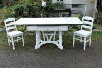 White Porcelain Expandable Farmhouse Table Set | Chairish