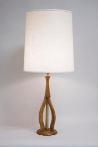 Mid-Century Wooden Tripod Base Table Lamp | Chairish