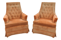 Mid-Century Modern Upholstered Club Chairs - A Pair | Chairish