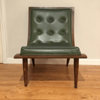 Mid-Century Modern Scoop Chair in Green | Chairish