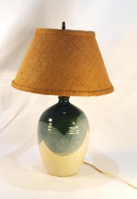 Mid-Century Blue & Tan Pottery Lamp | Chairish