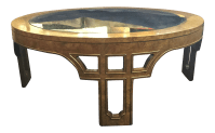 Mastercraft Burled and Brass Coffee Table | Chairish