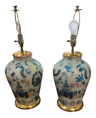 Vintage Oriental Hand Painted Table Lamps - A Pair | Chairish