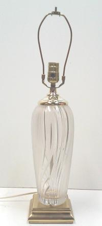 Lead Crystal Lamp on Brass Base | Chairish