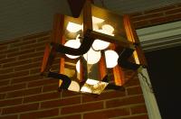 Mid-Century Glass Chrome & Wood Swag Lamp | Chairish