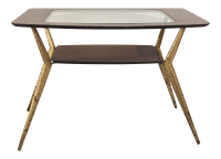 Mid-Century Rosewood & Glass Top Brass Side Table | Chairish