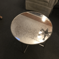 Round Antiqued Mirror Side Table | Chairish