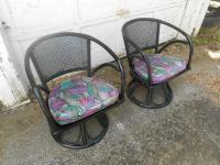 Mid-Century Modern Rattan & Cane Back Swivel Chairs- A ...
