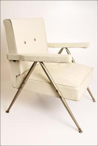 Mid Century Modern White Vinyl Accent Chair | Chairish