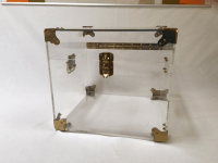 Lucite & Brass Trunk Coffee Table | Chairish