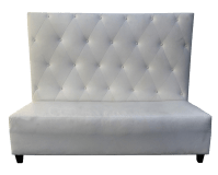 White Tufted Leather High-Back Bench | Chairish