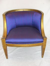 Newly Upholstered Purple Striped Barrel Chair | Chairish