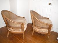 Mid-Century Cane Back Barrel Chairs - A Pair | Chairish