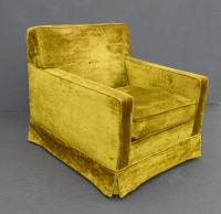 Mid-Century Modern Lime Green Velvet Accent Chair | Chairish