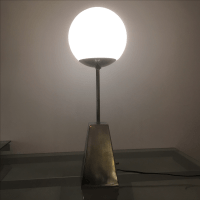 Vintage Chrome & Glass Globe Table Lamp | Chairish