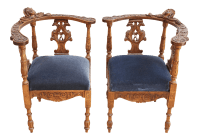 Carved English Corner Chairs - a Pair | Chairish