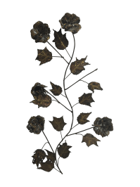 Vintage Bronze Metal Floral Wall Art | Chairish