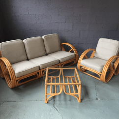 Folding Chair Bed Philippines Patio Table And Chairs Pretzel Arm Rattan Bamboo Sofa - Set Of 3 | Chairish