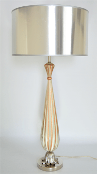 Italian Murano White Striped Glass & Chrome Table Lamp ...
