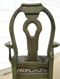 Vintage Walnut Tole-Painted Captain's Chair | Chairish