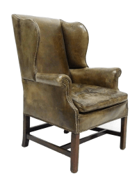 Distressed Leather 19th C. Wingback Chair | Chairish
