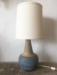 Danish Mid-Century Textured Blue Ceramic Table Lamp | Chairish