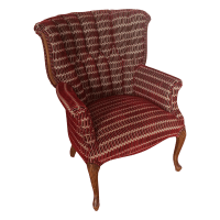 Barrel Back Tufted Red Accent Chair | Chairish