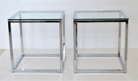 Milo Baughman Style Mid Century Modern Chrome & Glass Cube ...
