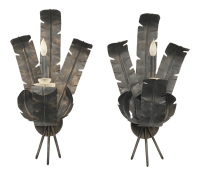 Large Tole Metal Banana and Palm Leaf Wall Sconces - A ...