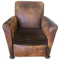 Distressed Leather & Velvet French Club Chair   Chairish