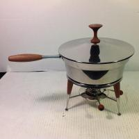 Mid-Century Teak & Chrome Fondue Maker | Chairish