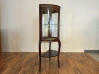 Antique Display Cabinet With Curved Glass | Chairish