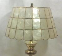 Brass Table Lamp with Capiz Shell Shade | Chairish