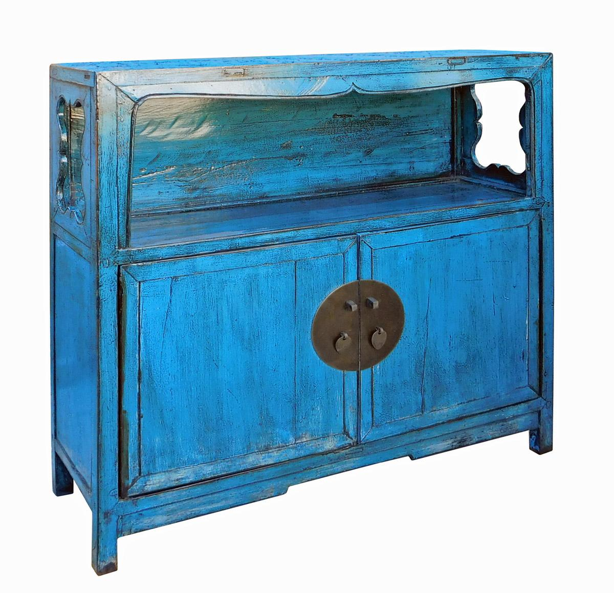 Distressed Chinese Blue Narrow Console Cabinet  Chairish