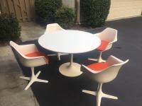 Burke Mid-Century Tulip Table & Swivel Armchairs - Set of ...