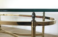 Vintage Brass & Glass Oval Coffee Table | Chairish