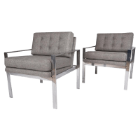 Milo Baughman Mid-Century Lounge Chairs - A Pair | Chairish