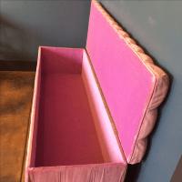 Pink Velvet Tufted Storage Bench | Chairish