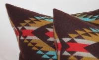 Dark Brown Pendleton Pillows - A Pair | Chairish